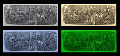 Declaration Of Independence In Quad Colors Print by Rob Hans