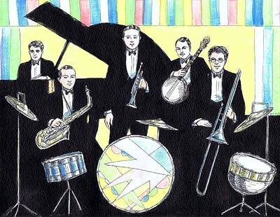 Jazz Band Drawing - Deco Drum by Mel Thompson