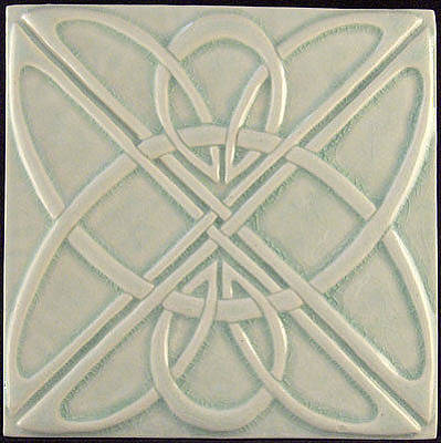 Ceramic Relief - Decorative Relief Carved Art Deco Celtic Knot Tile by Shannon Gresham