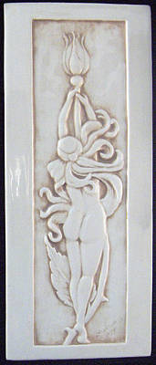 Ceramic Relief - Decorative Relief Carved Nude Art Nouveau Rose Fairy Tile by Shannon Gresham