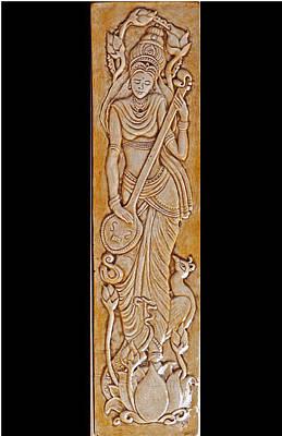 Ceramic Relief - Decorative Relief Carved Saraswati Ceramic Tile by Shannon Gresham