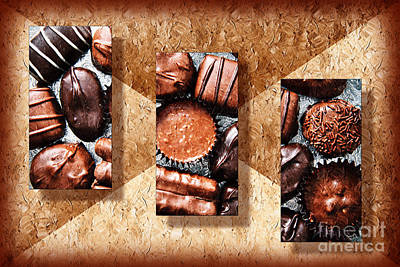 Delicious Mixed Media - Deep Rich Chocolates Triptych by Andee Design