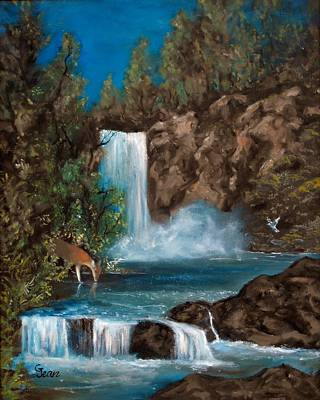 Landscape Painting - Deer Falls by Gloria Jean