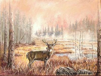 Over Hang Painting - Deer In The Foggy Swamps by Cecilia Putter