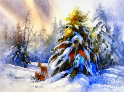 Deer In The Snowy Woods Print by Elizabeth Coats