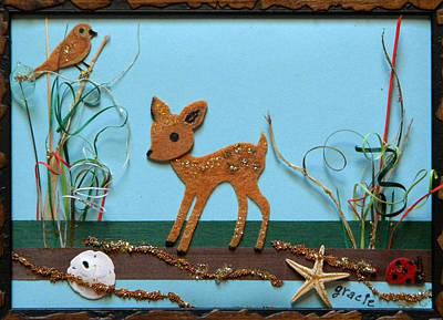 Gracie Mixed Media - Deer Marsh by Gracies Creations