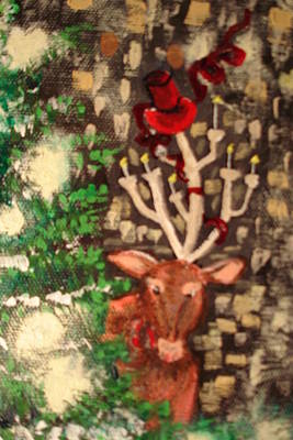 Deer Ready For A Party Original by Lisa Kramer