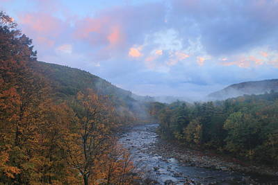 Deerfield River Mohawk Trail Autumn Evening Print by John Burk