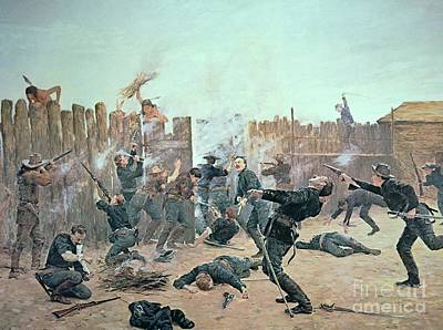 Defending The Fort Print by Charles Schreyvogel