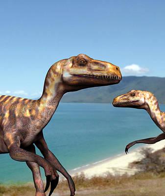 Deinonychus Dinosaurs Print by Christian Darkin