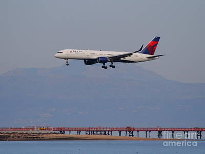 San Francisco Airport Photograph - Delta Airlines Jet Airplane At San Francisco International Airport Sfo . 7d12182 by Wingsdomain Art and Photography