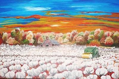 The Cotton Field Painting - Delta Cotton Fields With Round Bale Cotton Picker by Cecilia Putter
