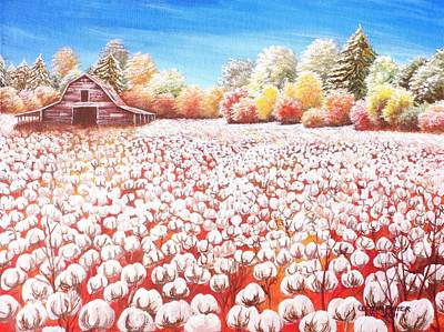 Delta Cotton Fileds With Mountain View Barn Original by Cecilia Putter