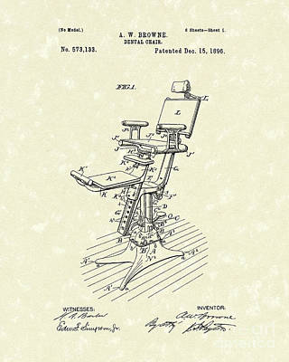 Dental Chair 1896 Patent Art Print by Prior Art Design