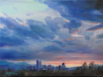 Prairie Sunset Painting - Denver Skyline At Sunset by Emily Olson
