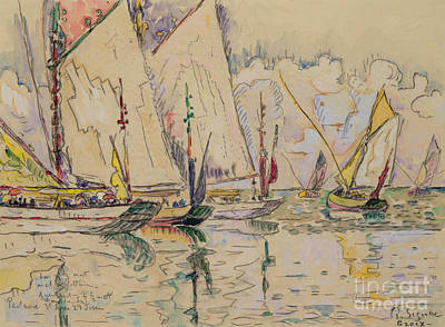 Reflecting Water Painting - Departure Of Tuna Boats At Groix by Paul Signac