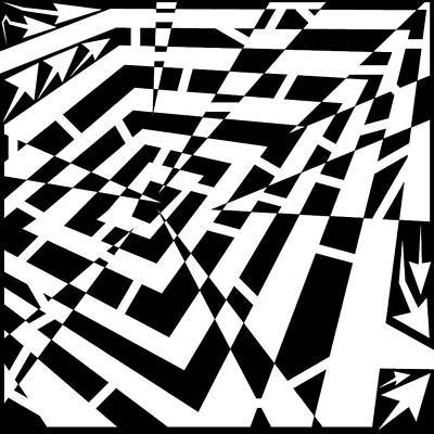 Frimer Drawing - Depressed Square Jagged Attack Maze by Yonatan Frimer Maze Artist