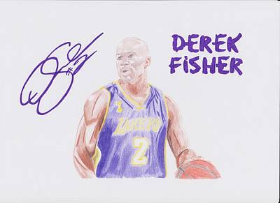 La Lakers Drawing - Derek Fisher by Toni Jaso