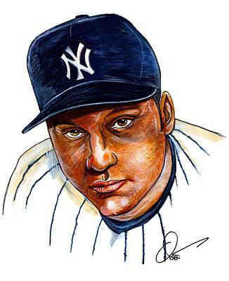 Yankees Drawing - Derek Jeter by Dave Olsen