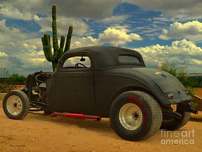 Drag Mixed Media - Desert Hot Rod by Jerry L Barrett