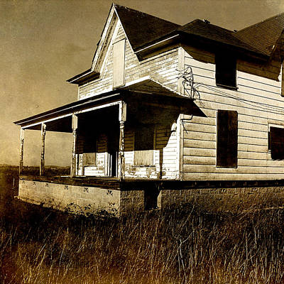 Sepia Vintage Farmhouse Photograph - Deserted House by Bonnie Bruno