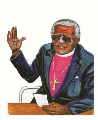 Desmond Tutu Print by Emmanuel Baliyanga
