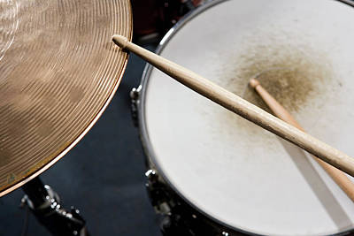 Part Of Photograph - Detail Of Drumsticks And A Drum Kit by Antenna