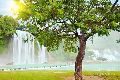 Detian And Ban Gioc Waterfall Print by MotHaiBaPhoto Prints