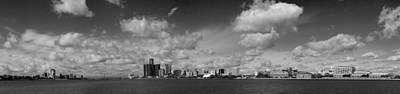 Ambassador Photograph - Detroit Skyline In Black And White by Twenty Two North Photography