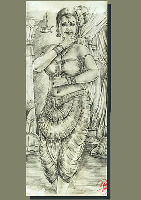 Indian Dance Drawing - Devadasi by Pradeep Virippil