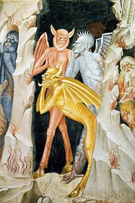 Devils And Hell's Flames, 14th Century Print by Sheila Terry