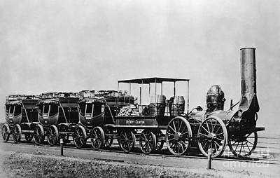 Dewitt Clinton Locomotive And Cars Print by Omikron