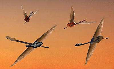 Flying Guitars Digital Art - Different People by Eric Kempson