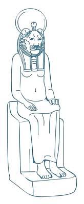 Goddess Mythology Digital Art - Digital Illustration Of Lion-headed Egyptian Goddess Sekhmet Sitting On Throne by Dorling Kindersley