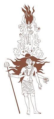Goddess Mythology Digital Art - Digital Illustration Of Shiva With Flaming Hair And Goddess Ganga Rising From Flowing Stream Above R by Dorling Kindersley