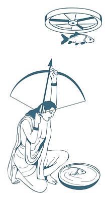 Two Fish Digital Art - Digital Illustration Of Skilled Archer Arjuna Aiming Arrow At Fish Hung From Revolving Wheel Above H by Dorling Kindersley