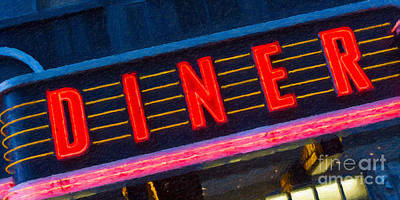 Impasto Oil Photograph - Diner Sign In Neon by Clarence Holmes