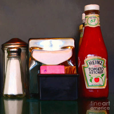 Tomato Digital Art - Diner Table Condiments And Other Items - 5d18035- Painterly by Wingsdomain Art and Photography