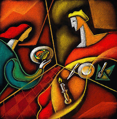 Man And Woman Painting - Dinner by Leon Zernitsky