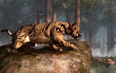 Ice Age Digital Art - Dinofelis by Daniel Eskridge