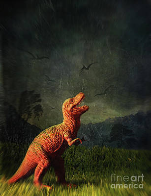 Dinosaur Toy Figure In Surreal Landscape Print by Sandra Cunningham