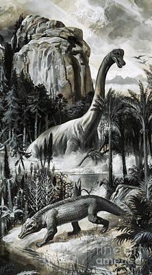 Dinosaur Painting - Dinosaurs by Roger Payne
