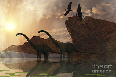 Triassic Digital Art - Diplodocus Dinosaurs And Pterodactyl by Corey Ford