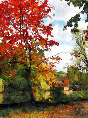 Landscape Photograph - Distant Mill  In Autumn by Susan Savad