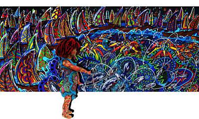 Distressed Fish Print by Karen Elzinga