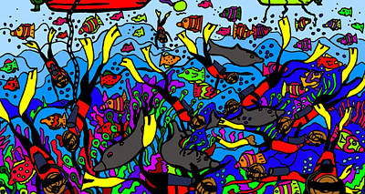 Divers Of The Deep Print by Karen Elzinga