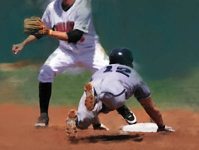Minor League Painting - Diving For Second Base by Dennis Wright aka The Mellow One