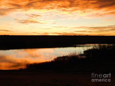 Dixon Reservoir Sunrise Print by Sara  Mayer