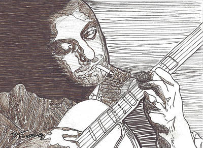 Stratocaster Drawing - Django by David Fossaceca