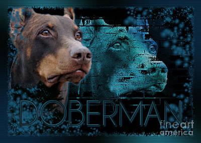 Doberman - Blue Eternity Print by Renae Laughner